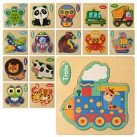Деревянная игрушка Пазлы микс видов (животные, транспорт), MD2596