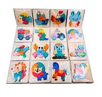 Деревянная игрушка Пазлы микс видов (транспорт,животные), MD2556