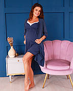 Комплект бавовняний халат, нічна сорочка для вагітних і годуючих синій