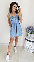 Женский летний сарафан джинсовый на тонких бретелях на завязках с карманами расклешенный (Норма) M