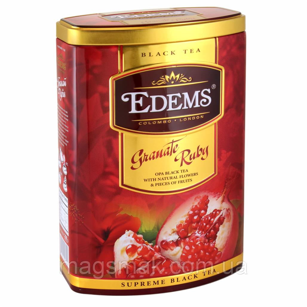 """Елітний чорний чай у подарунковій упаковці """"Гранат Рубін"""" Edems 200г"""