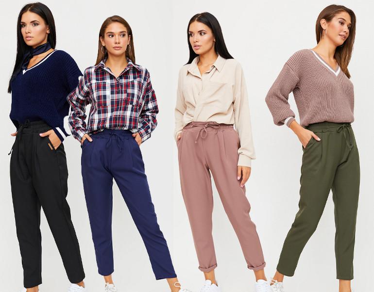 Женские укороченные брюки на высокой посадке и резинке KR-ритц