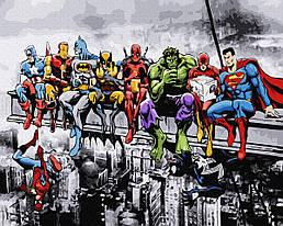 """Картина по номерам """"Команда супергероев"""" Сложность: 3 (Премиум: в наборе цветной холст из льна, акриловый лак,"""