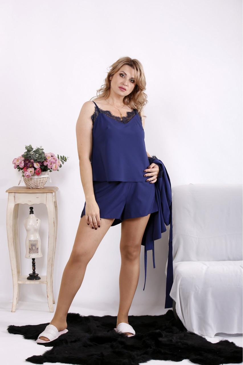 Шовковий домашній костюм синій жіночий великого розміру 42-74. 01606-4