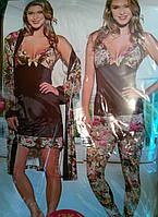 "Комплект женский ""4 предмета"" халат пижама и ночнушка №14330"