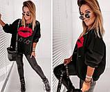Женская стильная кофта свитер худи трeхнитка с принтом размер: 42-44,46-48, фото 4
