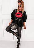 Женская стильная кофта свитер худи трeхнитка с принтом размер: 42-44,46-48, фото 2