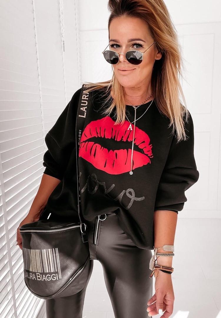 Женская стильная кофта свитер худи трeхнитка с принтом размер: 42-44,46-48