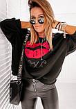 Женская стильная кофта свитер худи трeхнитка с принтом размер: 42-44,46-48, фото 3