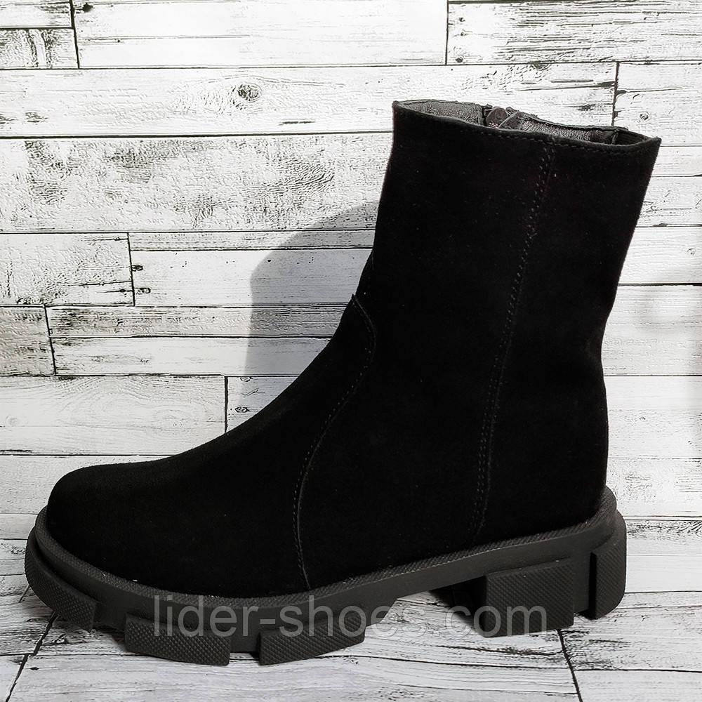 Зимние женские ботинки натуральная замша