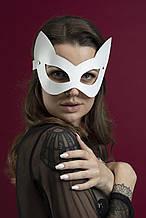 Маска кішечки Feral Feelings - Kitten Mask, натуральна шкіра Білий