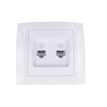 Розетка компьютерная + телефонная АВАТАР двойная внутренняя белая