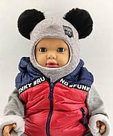 Шапка шлем детская  46 48 50 52 размер шапки ангора головные уборы детские, фото 1