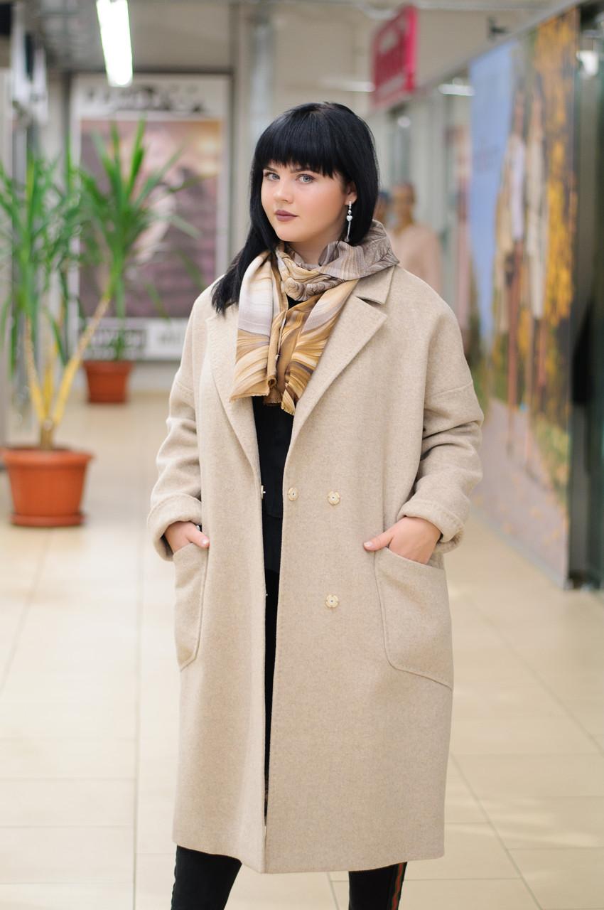 Классическое женское демисезонное пальто   бежевое Ricco Электра