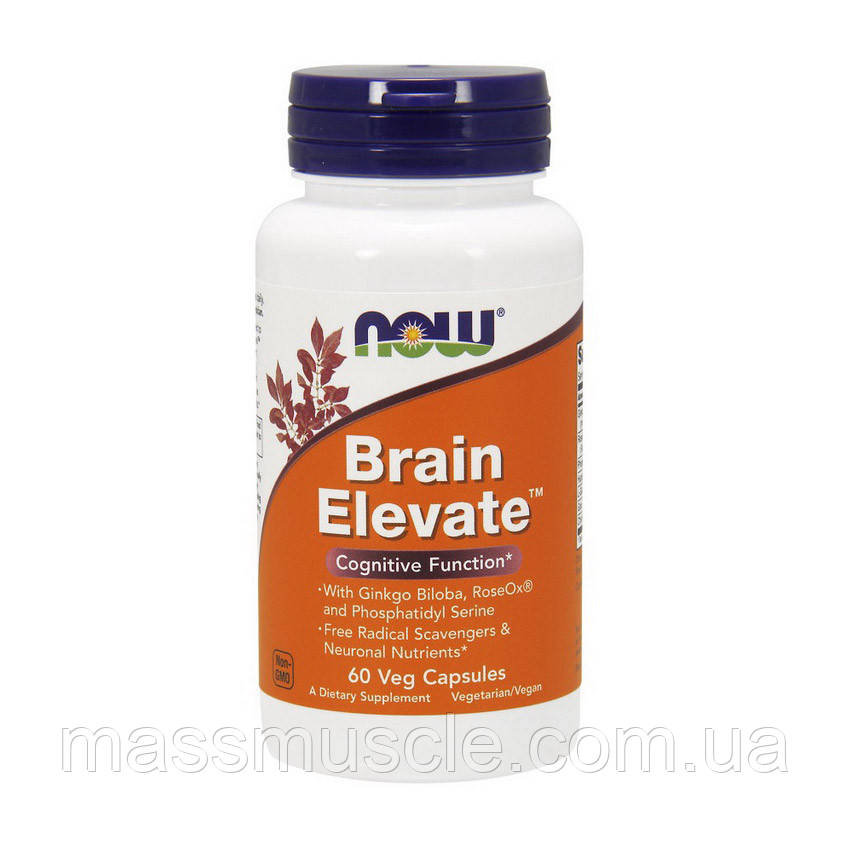 Здоровая активность мозга и защита от свободных радикалов Now Foods Brain Elevate 60caps