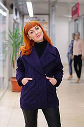 Жіноче стеганное вкорочене вовняне пальто фіолетове Ricco Європа