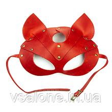 Преміум маска кішечки LOVECRAFT, натуральна шкіра Червоний