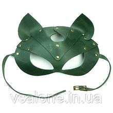 Преміум маска кішечки LOVECRAFT, натуральна шкіра Зелений