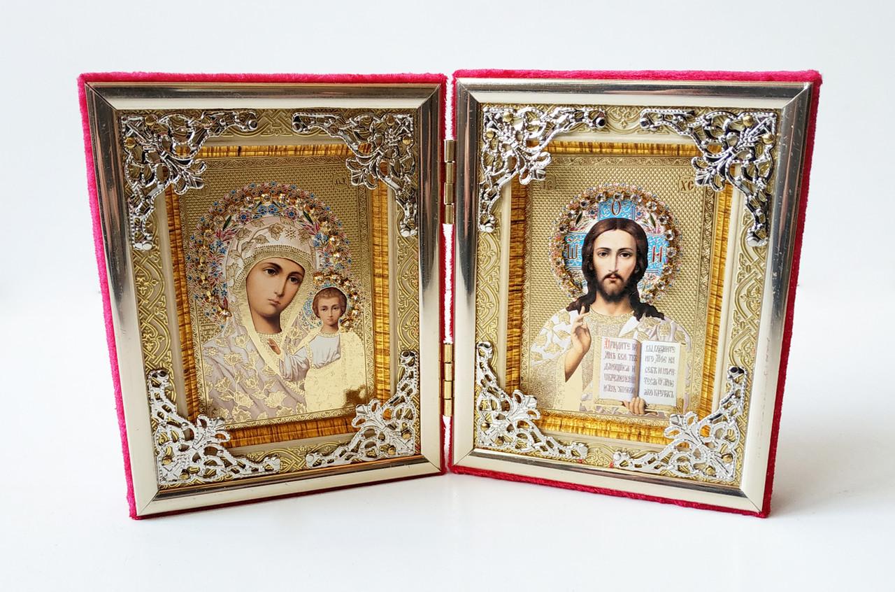 Икона двойная раскладная. Икона двух святых. Складень двойной 200х120 мм. Икона бархат