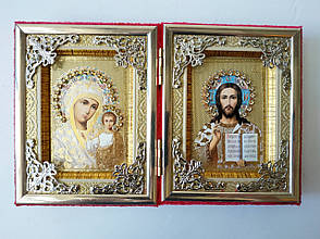 Икона двойная раскладная. Икона двух святых. Складень двойной 200х120 мм. Икона бархат, фото 2