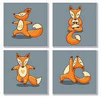 """Набор для росписи по номерам """"Yoga-fox"""" KNP011 (4 картины по 18х18 см)"""