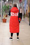 Женский комбинированный пуховик в стиле спорт шик  красно черный 8813, фото 2