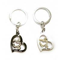 Брелки для влюбленных Сердечки Черно-белые 24541B, КОД: 1365701
