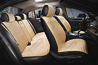 Накидки алькантара бежевые на сиденья авто Elegant Napoli 700 114 (комплект перед и зад)