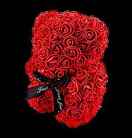 Мишка из 3D роз 25 см красный, фото 1