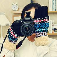 Женские зимние вязанные теплые с мехом варежки перчатки рукавицы рукавички
