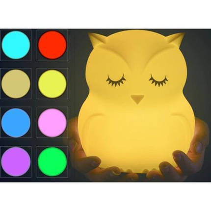 Ночник силиконовый Led Сова светодиодный  Детский ночник-игрушка Click Сова 12 см  RGB, фото 2