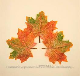 Листья клена, осенние уп. 50 шт., тканевые, оранжево-зеленые 10х9 см, №610