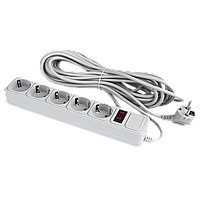 Сетевой фильтр LogicPower 5 розеток 10 м серый ОЕМ (LP-X5), фото 1