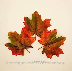 Листья клена, осенние уп. 50 шт, тканевые, красно-зеленые 10х9 см, №610