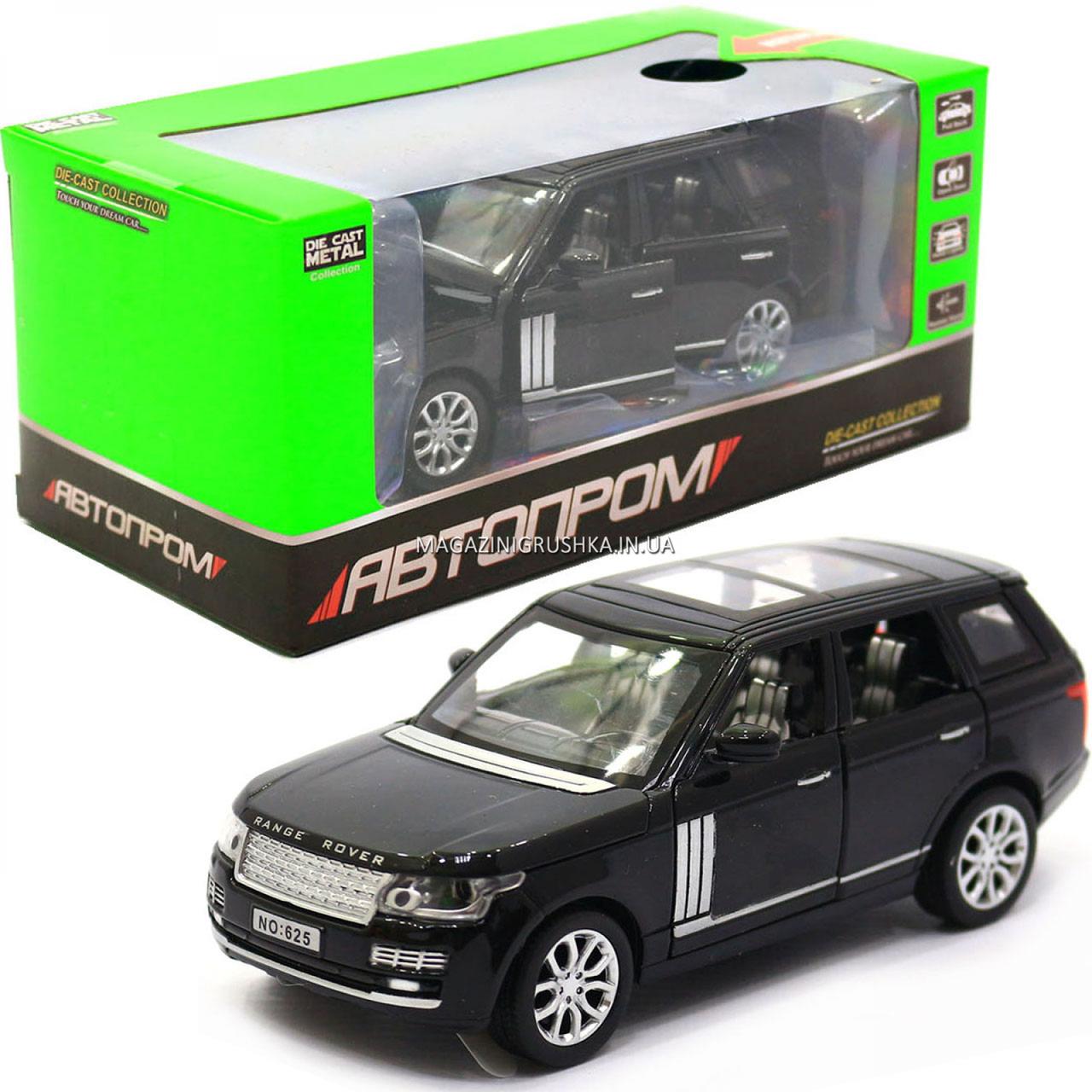 Машинка ігрова автопром «Range Rover» джип, метал, 15 см, чорний (світло, звук, двері відкриваються) 7639