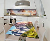 Наклейка 3Д виниловая на стол Zatarga «Высоко в горах» 600х1200 мм для домов, квартир, столов, кофейн,