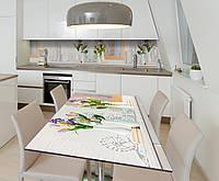 Наклейка 3Д виниловая на стол Zatarga «Тюльпаны в вазах» 650х1200 мм для домов, квартир, столов,