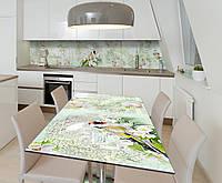 Наклейка 3Д виниловая на стол Zatarga «Птицы в саду» 600х1200 мм для домов, квартир, столов, кофейн,