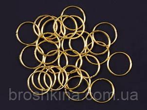 Серьги (пирсинг, колечки) для волос 18 мм около 200 шт/уп. золотистые