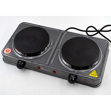 Плита электрическая двухкомфорная Domotec MS-5822 2000W электроплита Серый (44628)