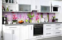 """Скинали на кухню Zatarga """"Цветы на досках"""" 600х2500 мм виниловая 3Д наклейка кухонный фартук самоклеящаяся"""