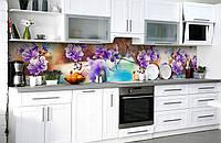 """Скинали на кухню Zatarga """"Пышные цветы на ветке"""" 650х2500 мм виниловая 3Д наклейка кухонный фартук"""