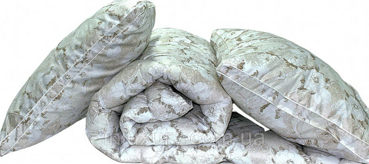 "Одеяло лебяжий пух ""Цветы"" 2-сп. + 2 подушки 70х70"