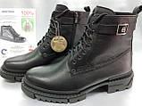 Кожаные зимние ботинки-берцы на молнии Bertoni, фото 5