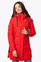 Женская зимняя удлиненная куртка красная 70447