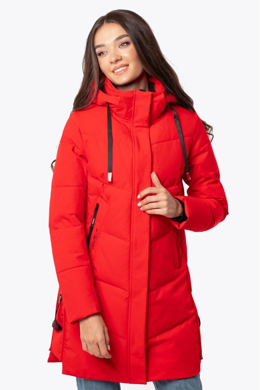 Жіноча зимова подовжена куртка червона 70447