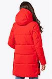 Жіноча зимова подовжена куртка червона 70447, фото 4
