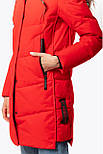Жіноча зимова подовжена куртка червона 70447, фото 5