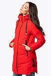 Жіноча зимова подовжена куртка червона 70447, фото 3