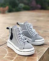 Женские кеды замшевые ботинки на платформе весенние спортивные молодежные серые 39 размер M.KraFVT 21091